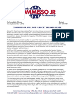 Commisso for Assembly Press Release - Speaker Silver 9-4-12