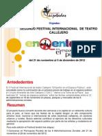 """Folleto informativo del II Festival Internacional de Teatro Callejero""""EnQentro en el Espacio Público"""""""