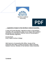 Legislative Output in the NI Assembly