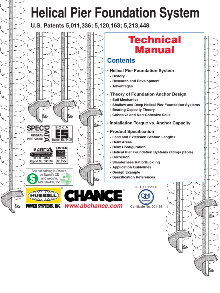 01 9601 Technical Manual Chance Helical Anchor P12 Deep Foundation Screw