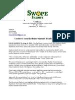 Gaultieri should release warrant details to public