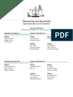 Lectors Schedule Sept 2012