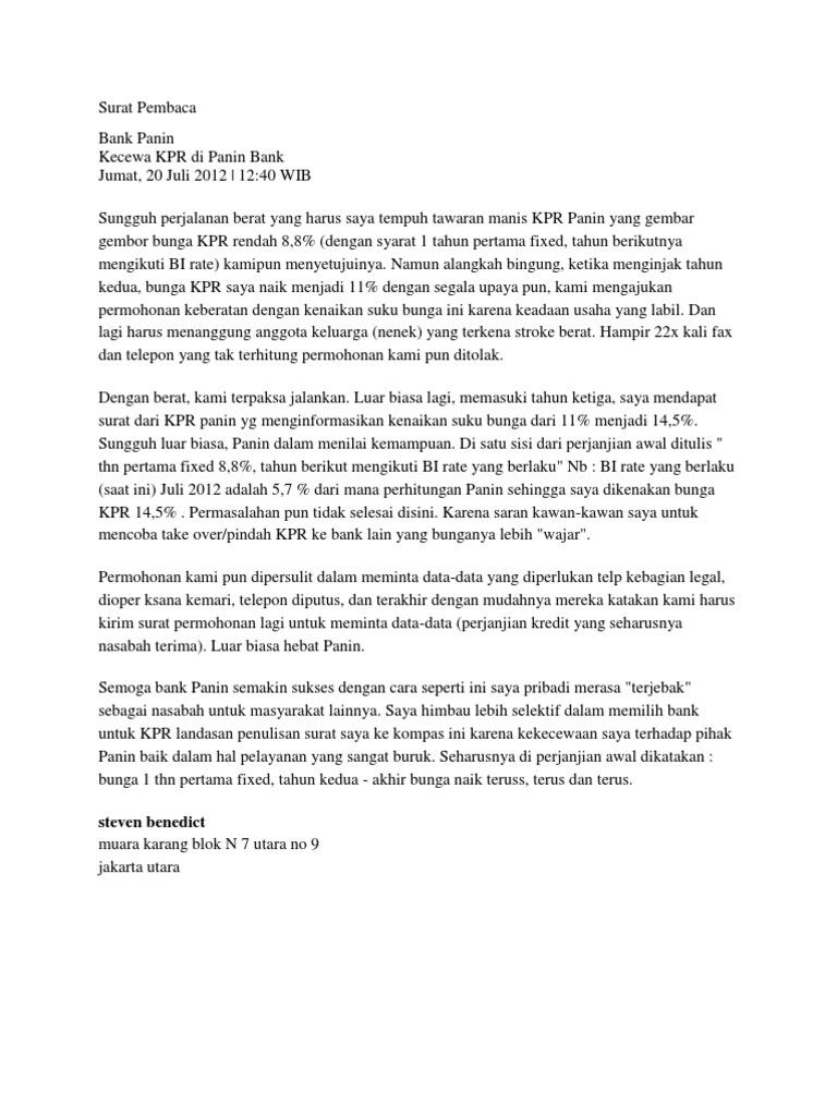 Contoh Surat Permohonan Penurunan Suku Bunga Bank Kumpulan Surat Penting