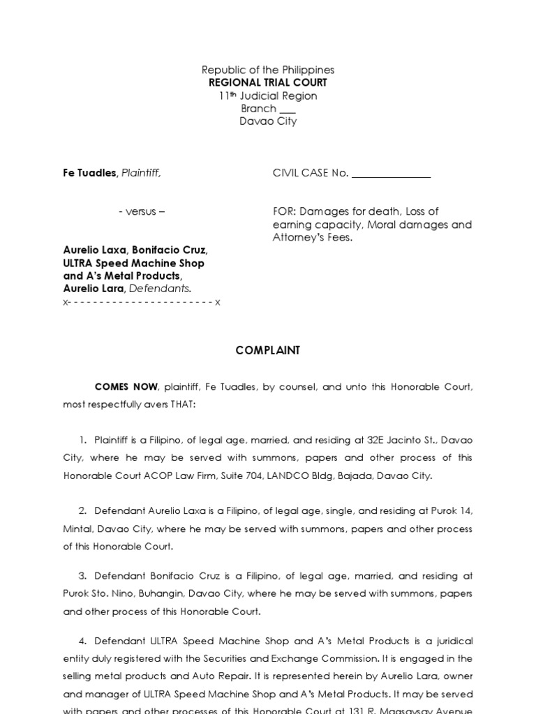 civil complaint template word