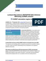 Lombard Risk Delivers REPORTER EBA COmmon REPorting COREP Solution