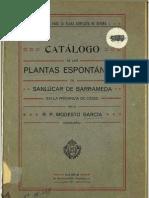 Catálogo de las plantas espontaneas de Sanlucar de Barrameda 1911 por Modesto Garcia