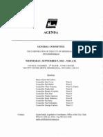 General Committee Agenda, September 5, 2012