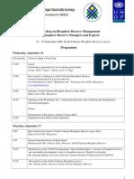 Workshop on Biosphere Reserve Management Programme