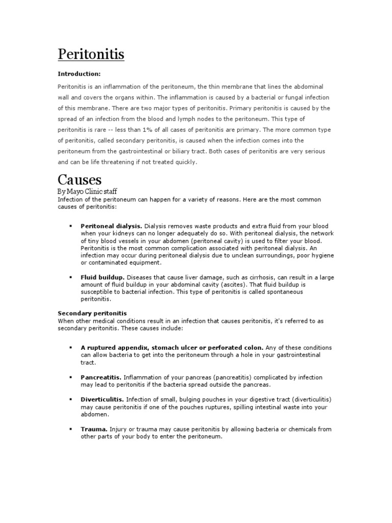 Peritonitis - what is it Peritonitis: causes, symptoms, diagnosis, treatment 63