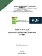 (TCC SOBRE A MANUTENÇÃO DA QUALIDADE DE ENERGIA ELÉTRICA - IFPE)