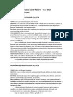 Relatórios de Hematologia (Hematócrito & Esfregaço Sanguíneo)