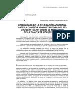 Comunicado de Argentina ante CARU sobre UPM