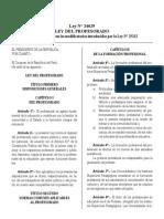 Ley N° 24029 - LEY DEL PROFESORADO