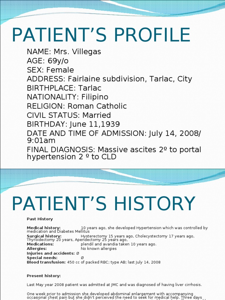 Patient profile and history maxwellsz