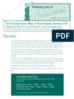 Liz's Sewing Centre Sep - Dec Newsletter