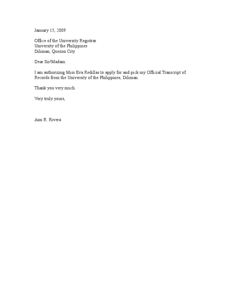 High Quality Authorization Letter TOR
