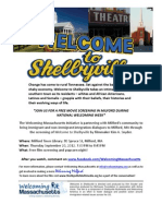 Welcome to Shelbyville -English y Espanol. Flyer for Documentary Screening in Milford