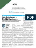 Stonebraker SQL vs NoSQL 2010