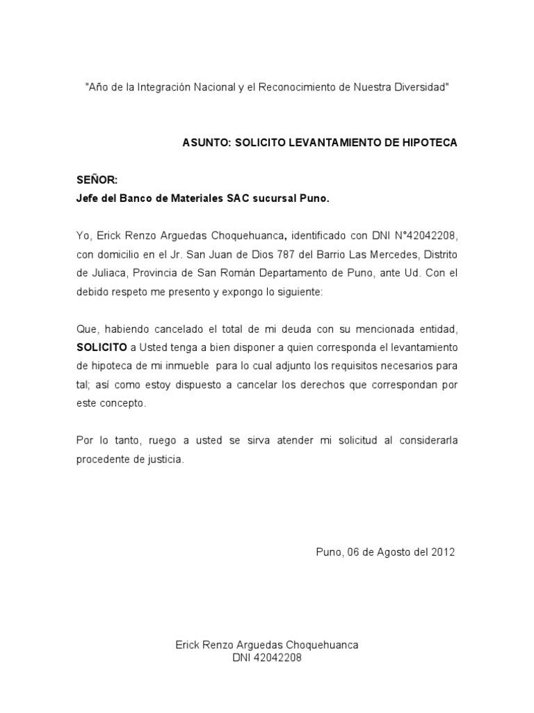 Carta modelo de solicitud de minuta de levantamiento de for Solicitud de chequera banco venezuela