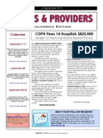 Payers & Providers California Edition – Issue of September 6, 2012