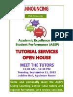 AESP Tutorial Services Open House Sep 11, 2012