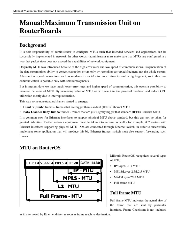 Manual_Maximum Transmission Unit on RouterBoards | Multiprotocol ...