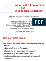 Introduction to Health Economics & Econ Evaluation - HPAd 201