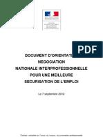 Document d'orientation pour la négociation nationale sur l'emploi