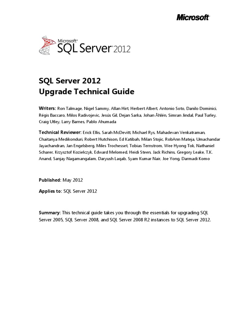 SQL Server 2012 Upgrade Technical Reference Guide White Paper