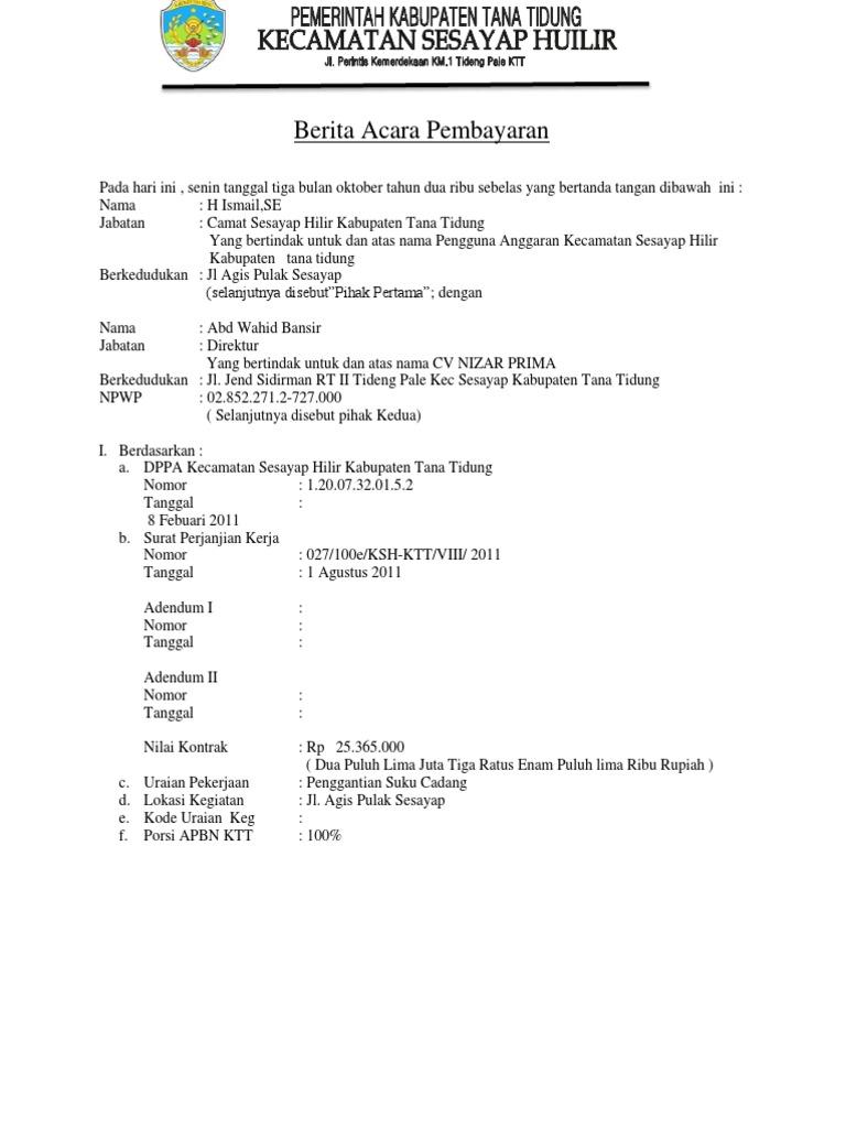 35++ Contoh format surat berita acara pembayaran terbaru terbaru