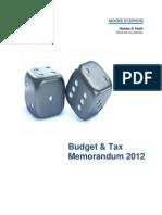 Budget Tax Memorandum 2012