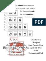 2012 Utah Science Olympiad Program