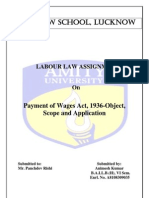 Payment of Wages Act, 1936-Object, Scope and Application-Labour aw
