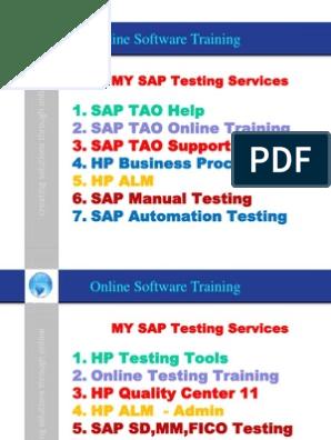 SAP ERP Testing, SAP Automation Testing, HP QTP 11, HP ALM