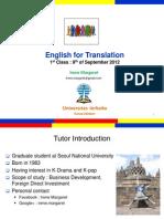 English for Translation Class1 Module1 (20120909)