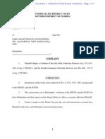 Myrick Fair Collections Outsourcing FDCPA FCCPA Complaint