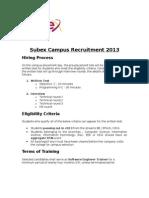 Subex Campus Recruitment 2013 -Selection Process