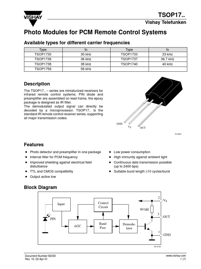 IR Receiver (TSOP1738)   Infrared   Signal (Electrical Engineering)