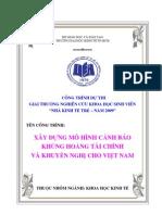 Xây dựng mô hình cảnh báo sớm khủng hoảng tài chính ở Việt Nam