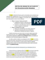 APLICACIÓN PRÁCTICA DEL MASAJE EN LAS CLASES DE EDUCACIÓN FÍSICA