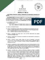 Ordem do Dia da Assembleia Municipal de Sintra de 13 de Setembro de 2012