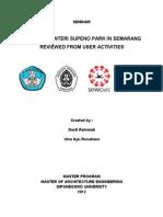 Cover Seminar Study Of Menteri Supeno Park in Semarang Viewed From User Activity