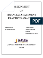 Assignment on Financial Statement Practices Analysis
