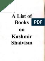 A List of Books on Kashmir Shaivism - IAT