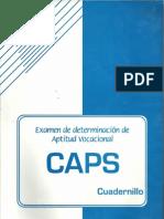 EXAMEN DE DETERMINACIÓN DE APTITUD VOCACIONAL Caps - Cuadernillo