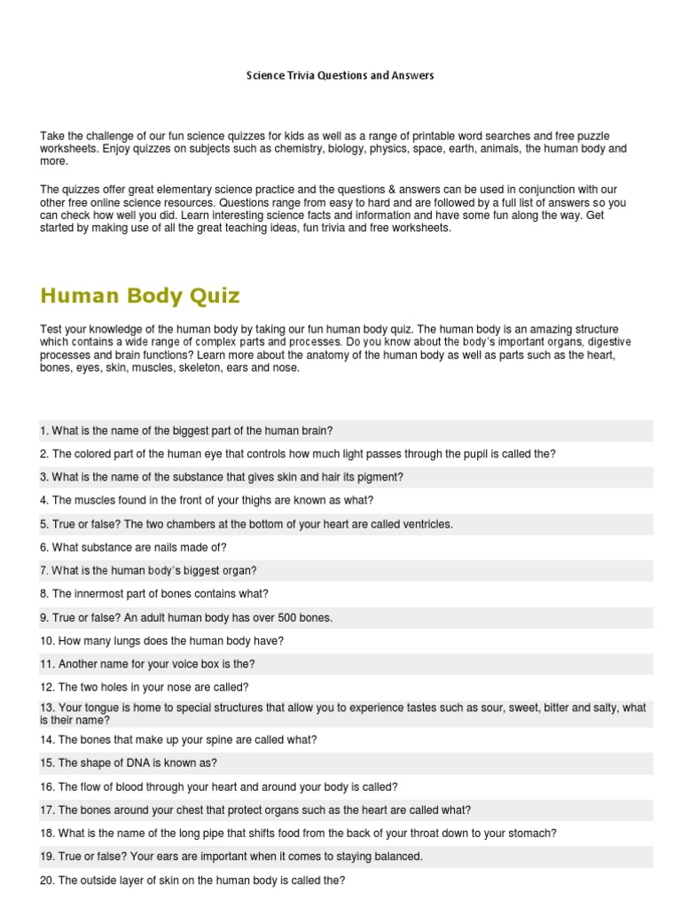 Science quiz bee questions and answers for grade 6 pdf