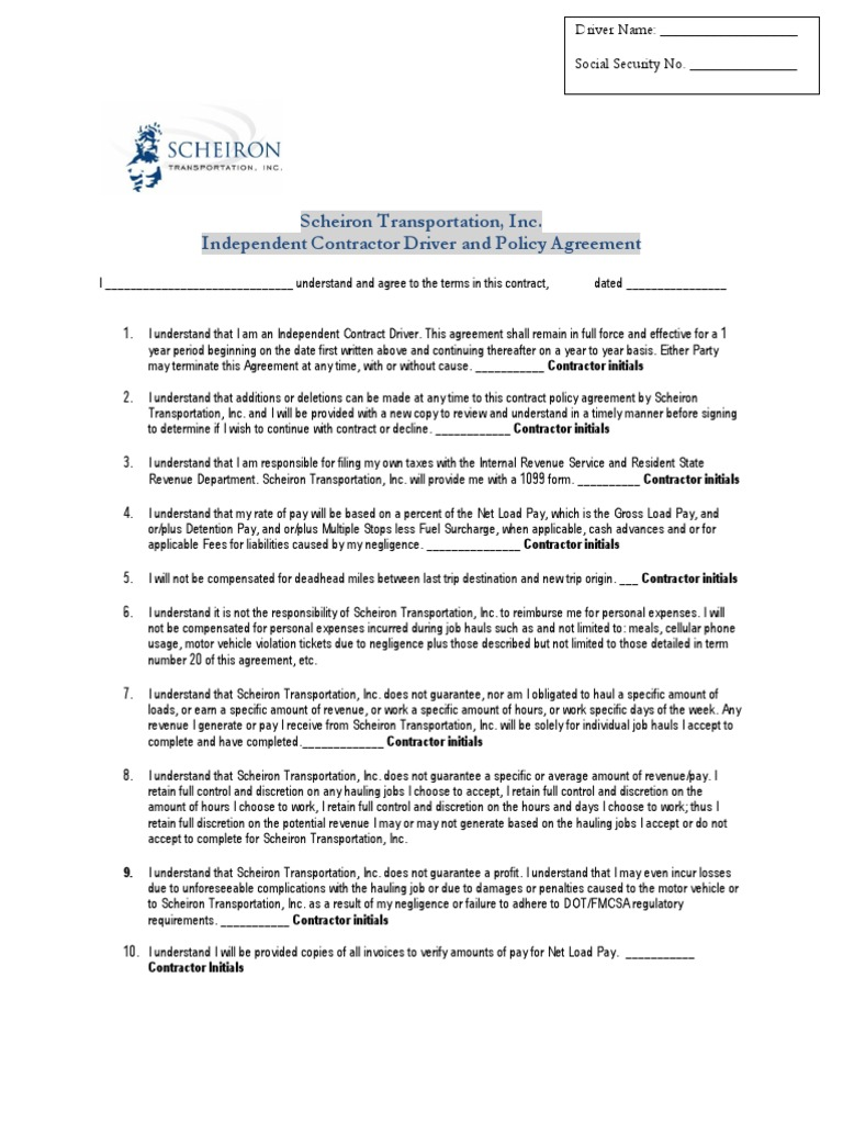 Independent Contractor Driver Agreement Pdf Transport
