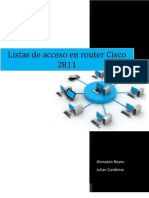 Configuración de listas de acceso en Router Cisco 2811