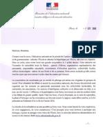La lettre des ministres Vincent Peillon et George Pau-Langevin