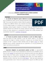 Revue de Presse Quotidienne-10-09